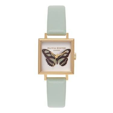 Olivia Burton Woodland Mint & Gold Square Dial Watch  - Click to view larger image