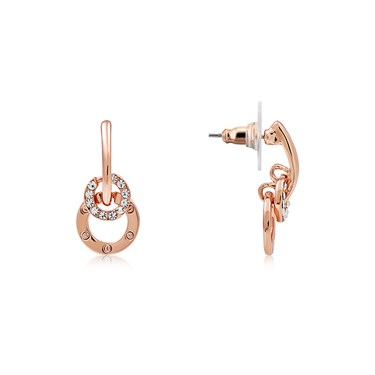 August Woods Rose Gold CZ Small Interlink Circle Earrings  - Click to view larger image