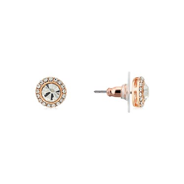 August Woods Rose Gold Crystal Stud Earrings  - Click to view larger image