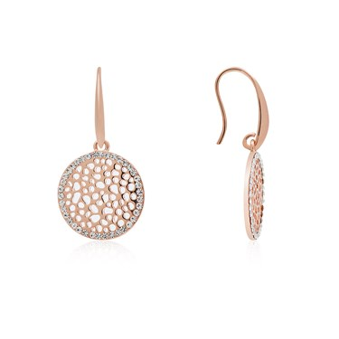 August Woods Rose Gold CZ Circle Drop Earrings  - Click to view larger image