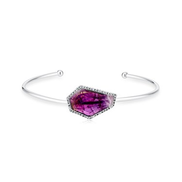 August Woods Amethyst & Silver Bangle  - Click to view larger image