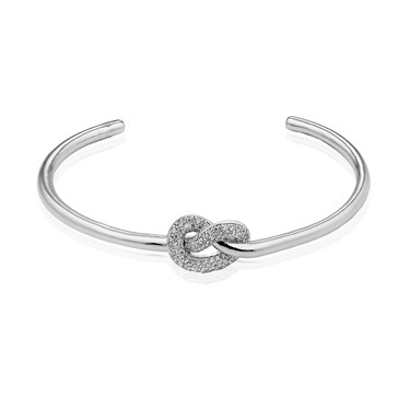 Dirty Ruby Silver Crystal Knot Open Bangle  - Click to view larger image