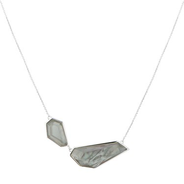 August Woods Grey Mother Of Pearl & Silver Necklace  - Click to view larger image