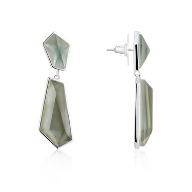 August Woods Grey Mother Of Pearl Drop Earrings  - Click to view larger image