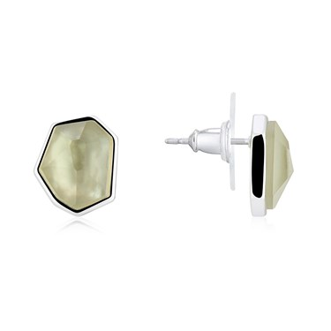 August Woods Grey Mother Of Pearl Stud Earrings  - Click to view larger image