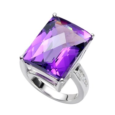 Argento Rectangle Amethyst Cubic Zirconia Ring