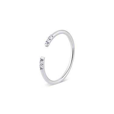 Karma Silver Crystal Bar Ring   - Click to view larger image