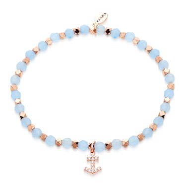 Karma Blue Beaded Anchor Bracelet   - Click to view larger image