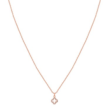 Karma Rose Gold Crystal Clover Necklace   - Click to view larger image