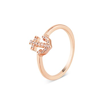 Karma Rose Gold CZ Anchor Ring   - Click to view larger image
