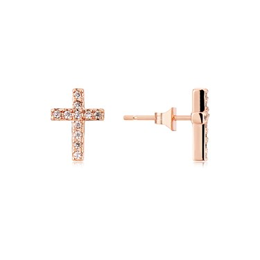 Karma Rose Gold Crystal Cross Stud Earrings  - Click to view larger image