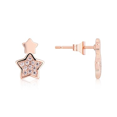 Karma Rose Gold Star Earrings  - Click to view larger image