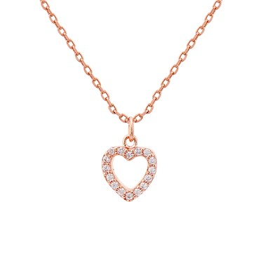 Karma Rose Gold Crystal Heart Necklace   - Click to view larger image