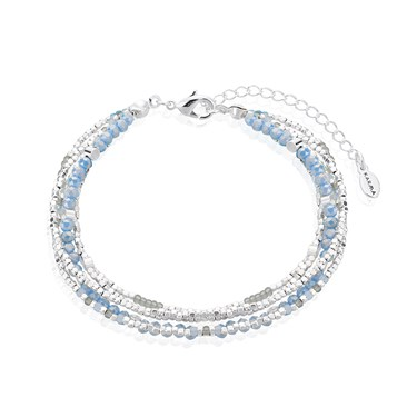 Karma Silver & Blue Layered Bracelet   - Click to view larger image