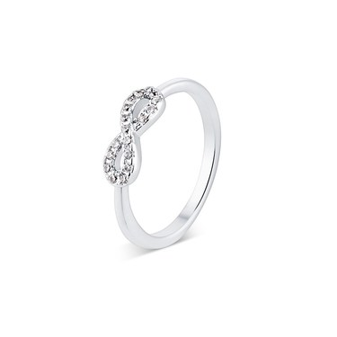 Karma Silver CZ Infinity Ring  - Click to view larger image