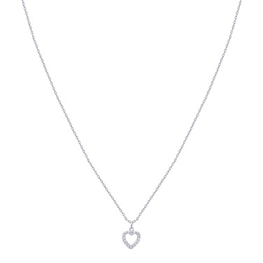 Karma Silver Crystal Heart Necklace   - Click to view larger image