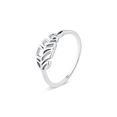 Karma Silver Open Leaf Ring  - Click to view larger image