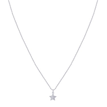 Karma Silver Crystal Star Necklace  - Click to view larger image