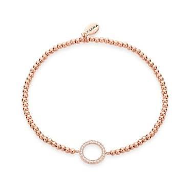 Karma Rose Gold Circle Beaded Bracelet  - Click to view larger image