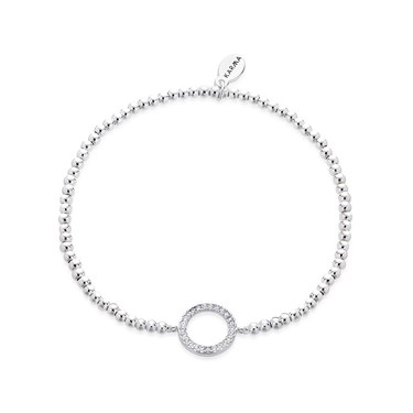 Karma Silver Circle Beaded Bracelet   - Click to view larger image