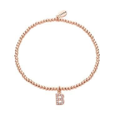 Karma Rose Gold Letter B Bracelet  - Click to view larger image