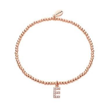Karma Rose Gold Letter E Bracelet  - Click to view larger image