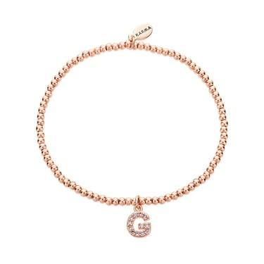 Karma Rose Gold Letter G Bracelet  - Click to view larger image