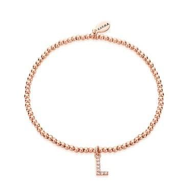Karma Rose Gold Letter L Bracelet  - Click to view larger image