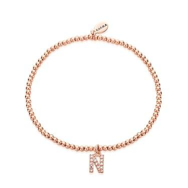 Karma Rose Gold Letter N Bracelet  - Click to view larger image