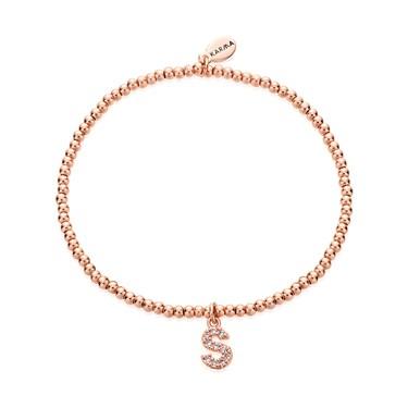 Karma Rose Gold Letter S Bracelet  - Click to view larger image
