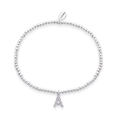 Karma Silver Letter A Bracelet  - Click to view larger image