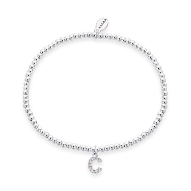 Karma Silver Letter C Bracelet   - Click to view larger image