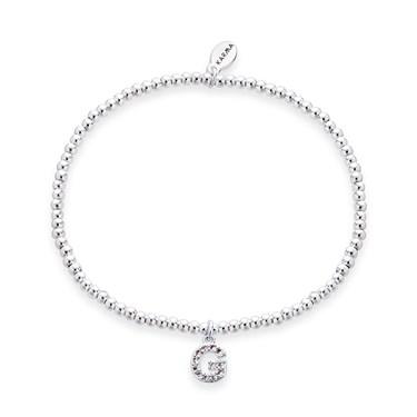 Karma Silver Letter G Bracelet  - Click to view larger image