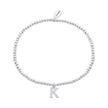 Karma Silver Letter K Bracelet  - Click to view larger image