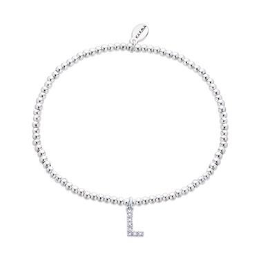 Karma Silver Letter L Bracelet  - Click to view larger image