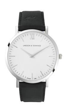 Larsson & Jennings  Lugano 40mm Black Leather Watch  - Click to view larger image