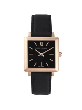 Larsson & Jennings  Norse 34mm Black & Rose Gold Watch  - Click to view larger image
