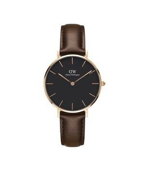 Daniel Wellington Classic Petite Rose Gold & Black Bristol Watch   - Click to view larger image