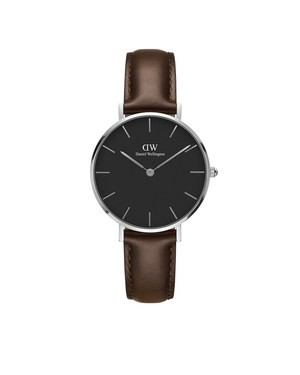 Daniel Wellington Classic Petite Silver & Black Bristol Watch   - Click to view larger image