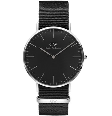 Daniel Wellington Classic Black Cornwall Silver Watch  - Click to view larger image