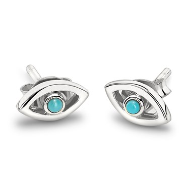 Missoma Evil Eye Turquoise Stud Earrings  - Click to view larger image
