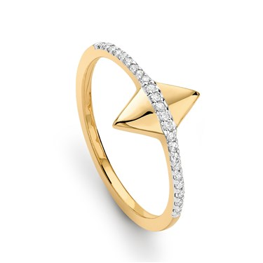 Missoma Gold Pave Double Arrow Ring  - Click to view larger image