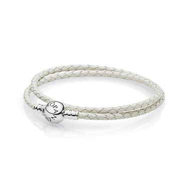 PANDORA Ivory White Double Woven Leather Bracelet  - Click to view larger image
