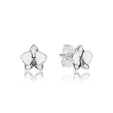 Pandora White Orchids Stud Earrings  - Click to view larger image