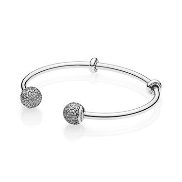 Pandora Moments Silver Open Pavé Bangle            - Click to view larger image