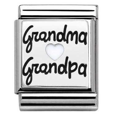 Nomination Big Silver Grandma & Grandpa Charm   - Click to view larger image