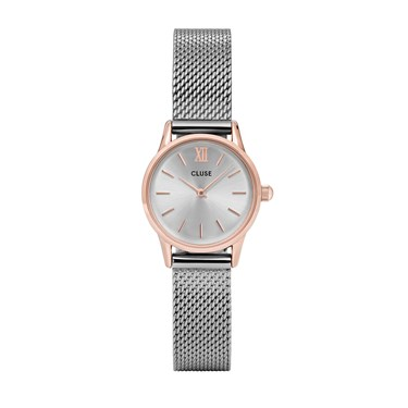 CLUSE La Vedette Rose Gold & Silver Mesh Watch  - Click to view larger image