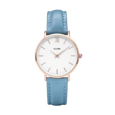 CLUSE Minuit Rose Gold & Retro Blue Watch  - Click to view larger image