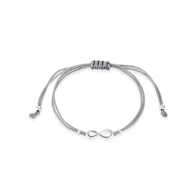 Karma Silver Infinity Pull Bracelet  - Click to view larger image
