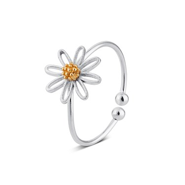 Karma Silver Daisy Ring  - Click to view larger image